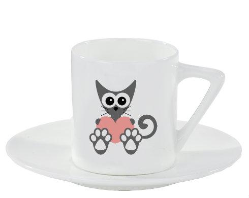 Espresso hrnek s podšálkem Kočka a srdce