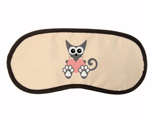 Maska na spaní - škraboška Kočka a srdce