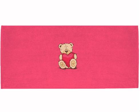 Celopotištěný sportovní ručník Medvídek srdce