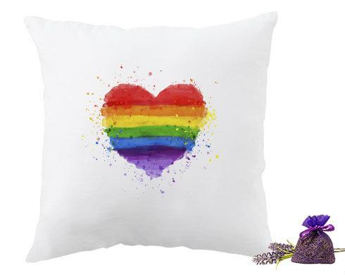 Levandulový polštář Rainbow heart