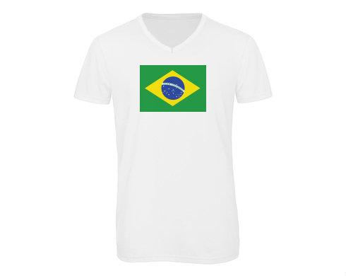 Pánské triko s výstřihem do V Brazilská vlajka