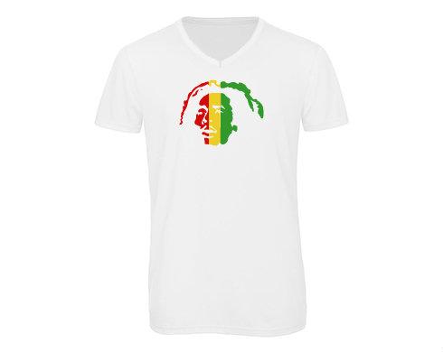 Pánské triko s výstřihem do V Bob Marley