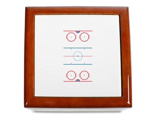 Dřevěná krabička Hokejové hřiště