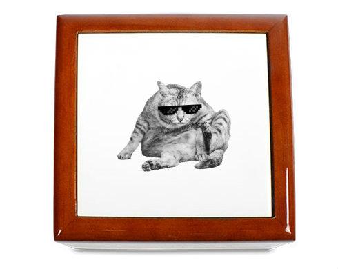 Dřevěná krabička Drsná kočka