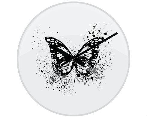 Hodiny skleněné Motýl grunge