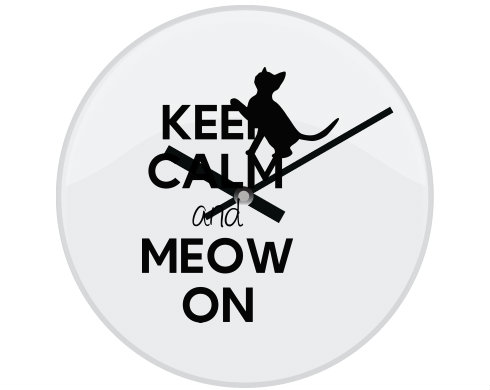 Hodiny skleněné Keep calm and meow on