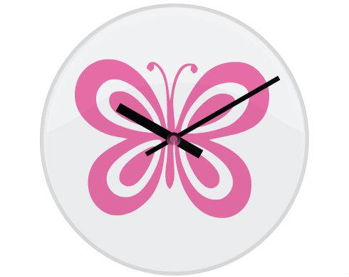 Hodiny skleněné Motýl