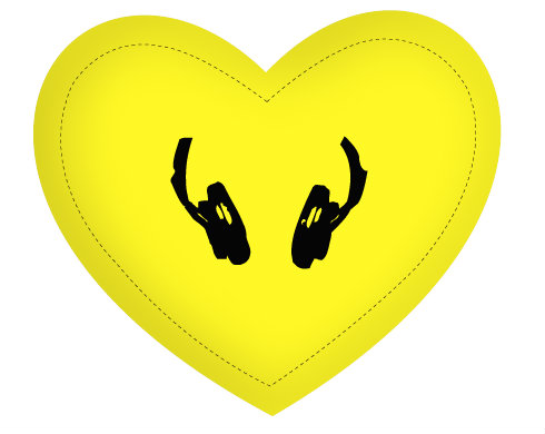 Polštář Srdce Sluchátka