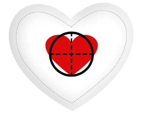 Polštář Srdce Zásah