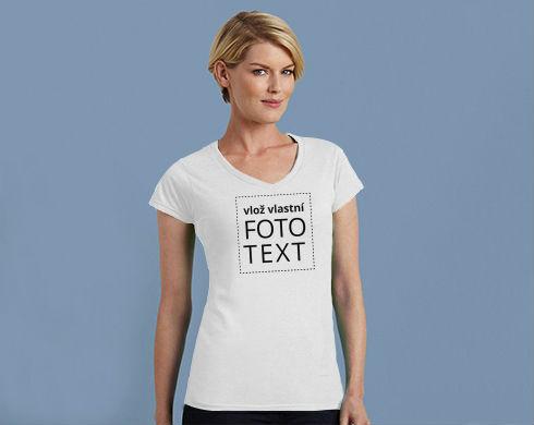 Dámské tričko V-výstřih s vlastním potiskem a78fc7e096