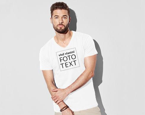 98ea42c36582 Pánské triko s výstřihem do V s vlastním potiskem