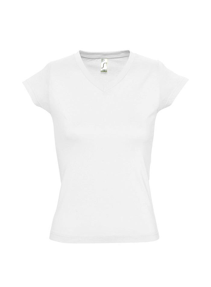 Tričko s výstřihem do V - Bílá S