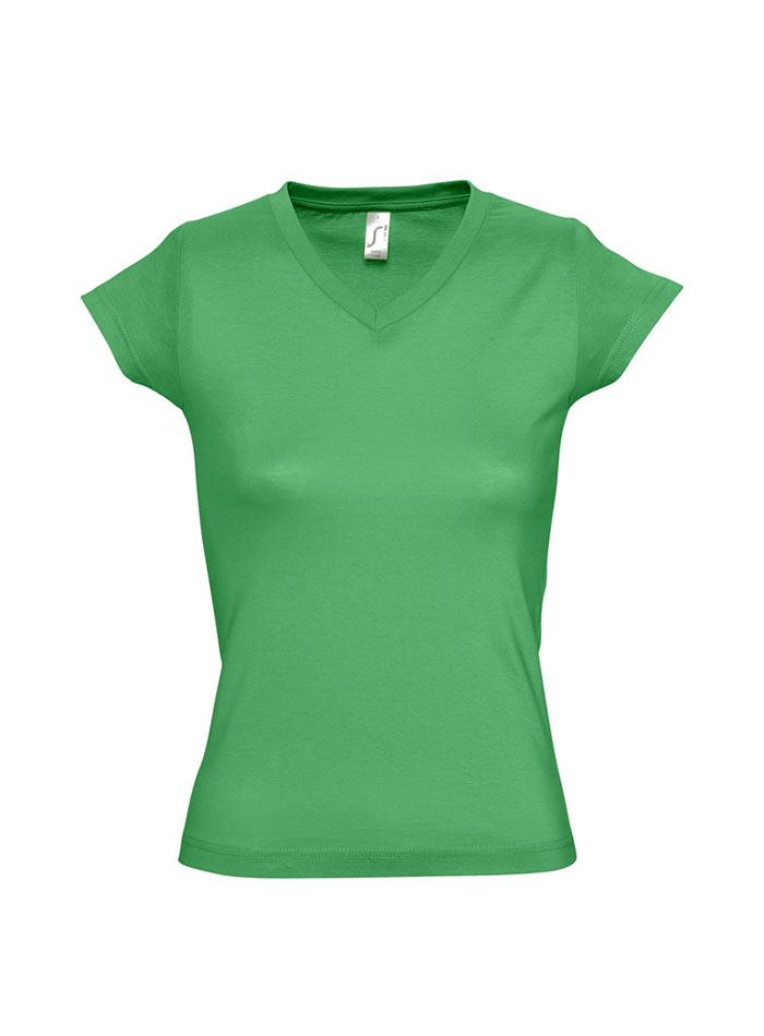 Tričko s výstřihem do V - Zelená S