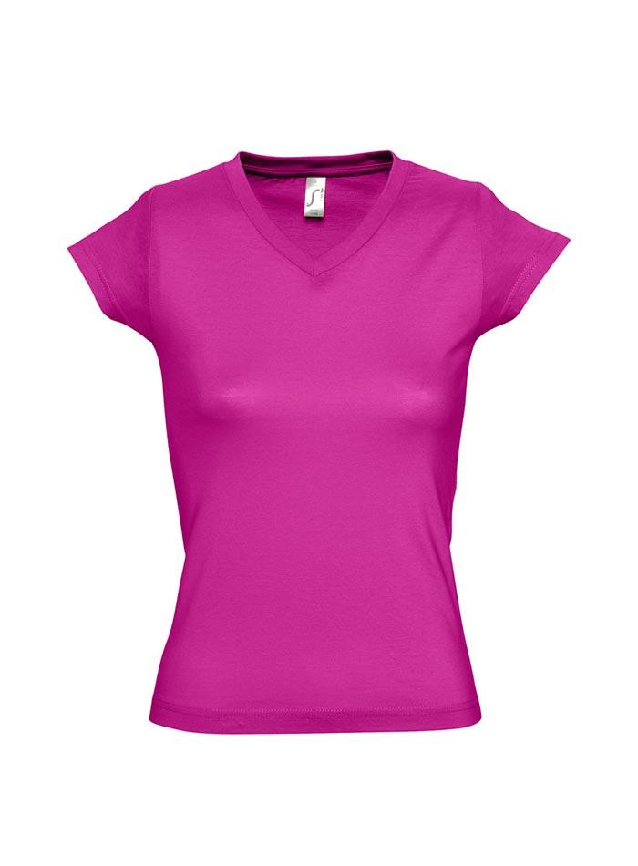 Tričko s výstřihem do V - Fuchsiová S