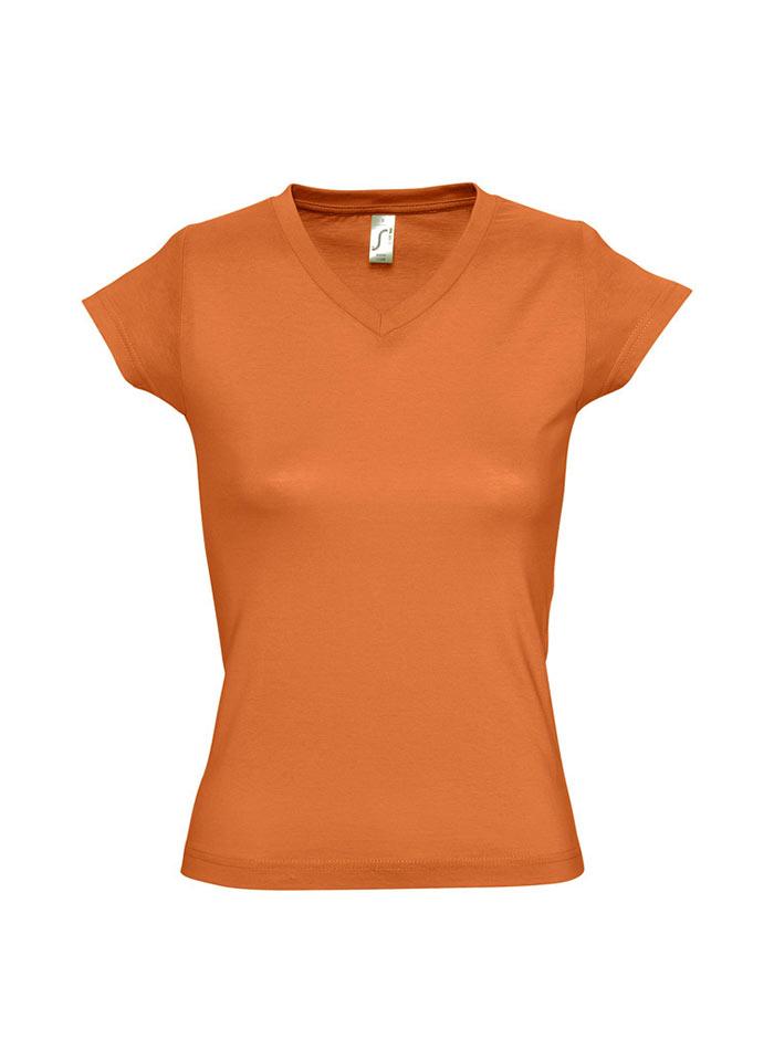 Tričko s výstřihem do V - Oranžová S