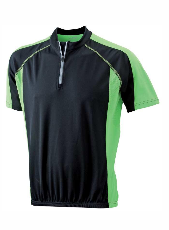 Cyklistické tričko James & Nicholson - Černá a zelená S