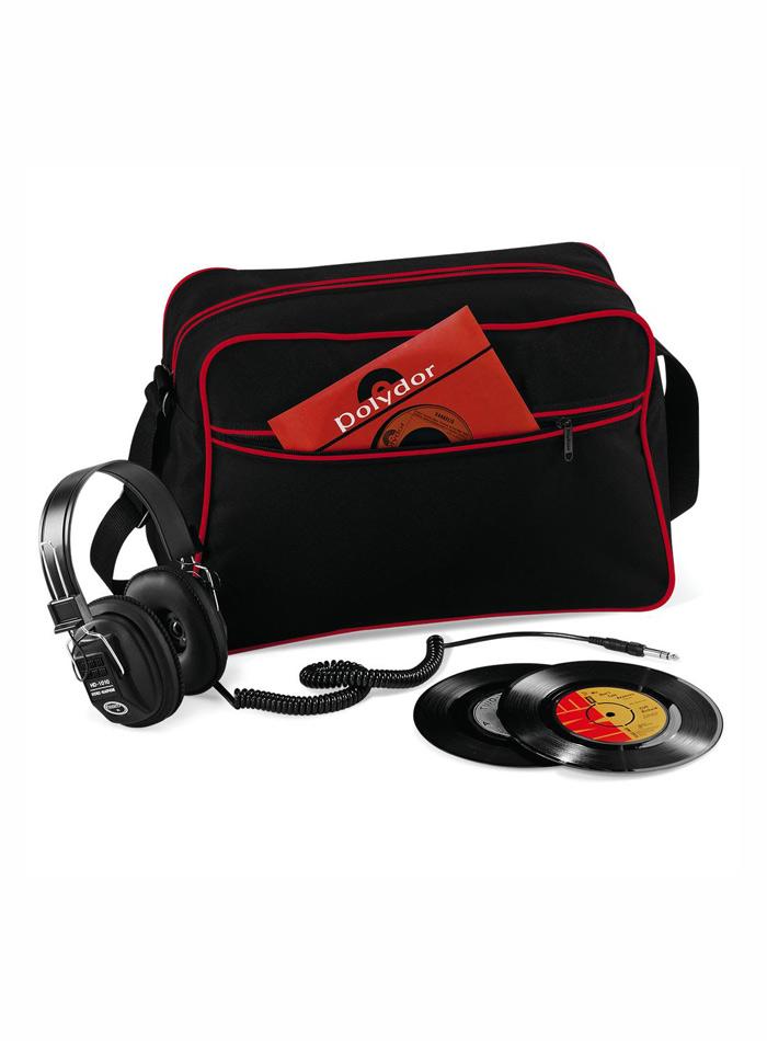 Retro taška přes rameno - Černá a červená univerzal