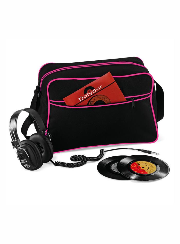 Retro taška přes rameno - Černá a růžová univerzal