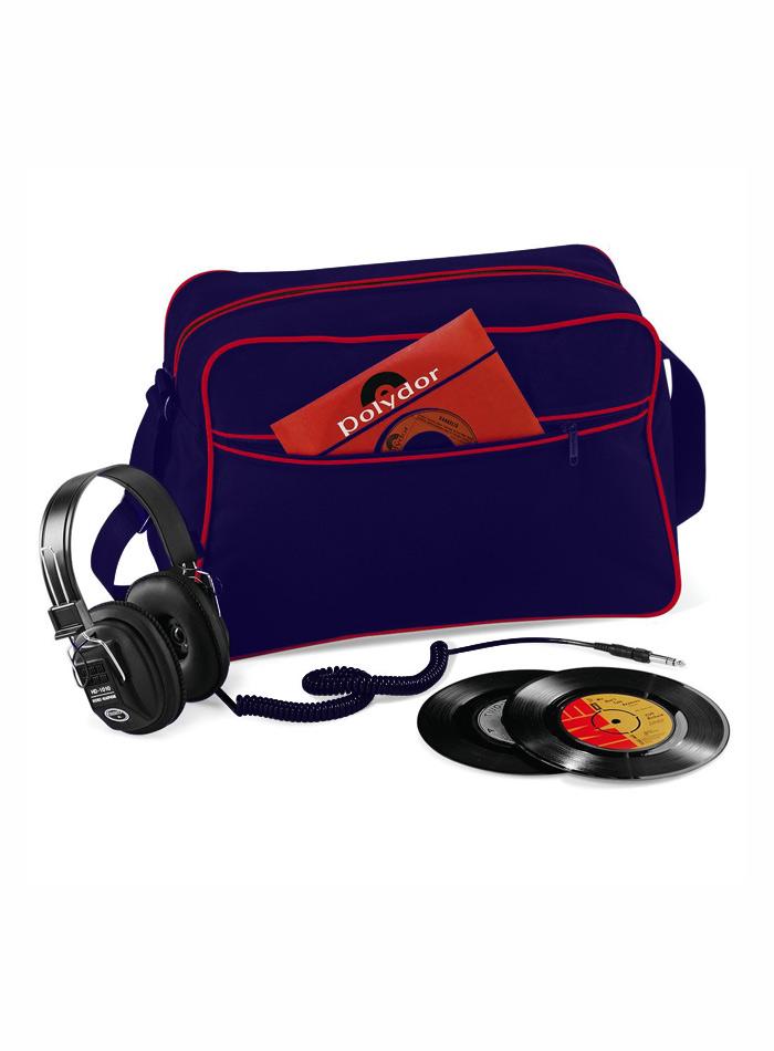 Retro taška přes rameno - Modrá a červená univerzal