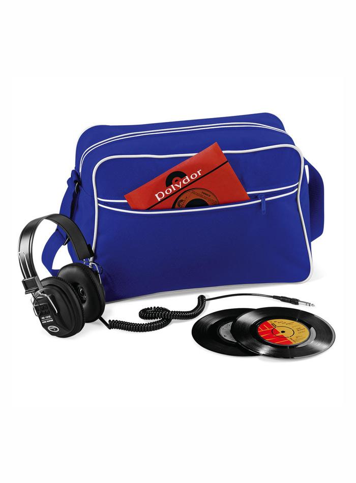 Retro taška přes rameno - Modrá a bílá univerzal