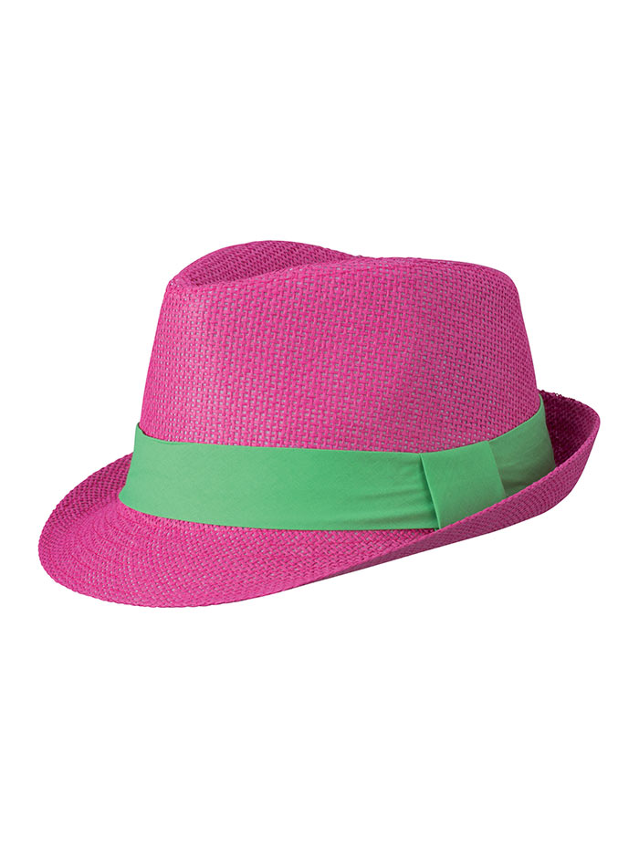 Barevný slamák unisex - Růžová a zelená S/M