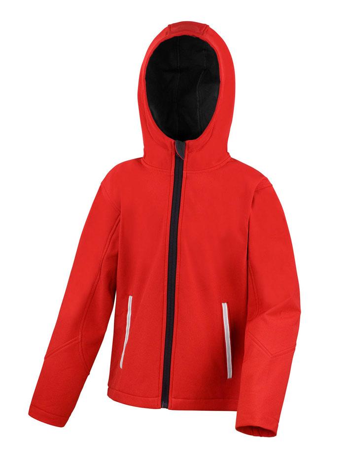 Softshell bunda s kapucí - Červená 12-14