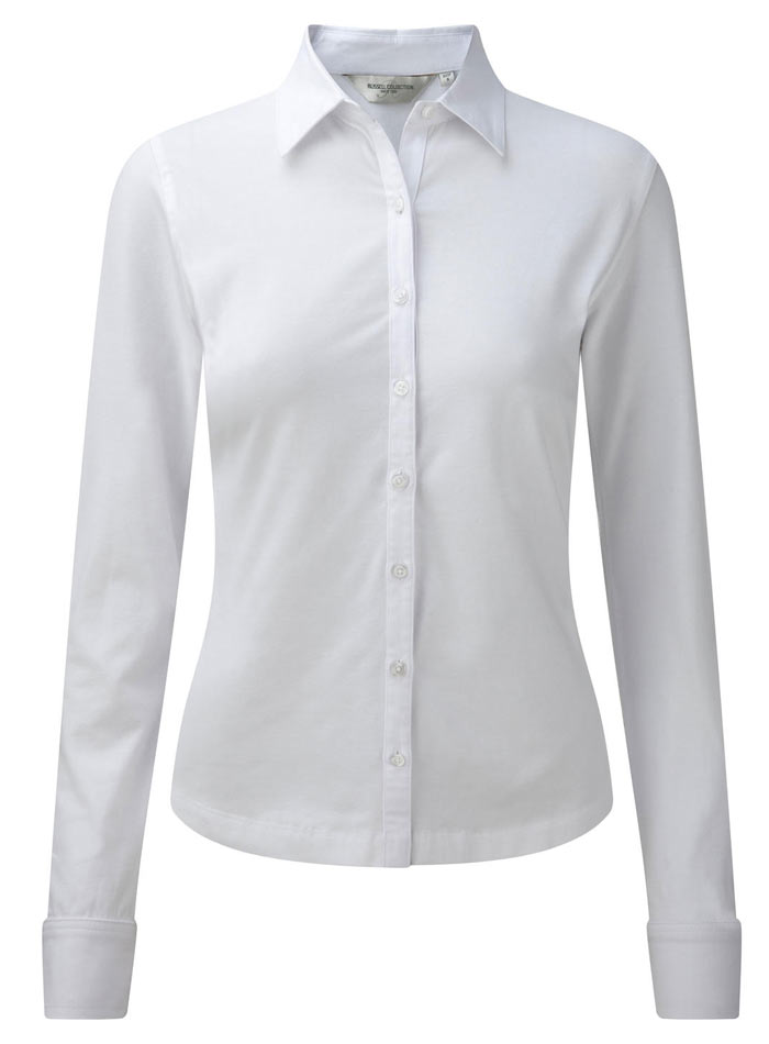 Košile s dlouhým rukávem Stretch - Bílá S