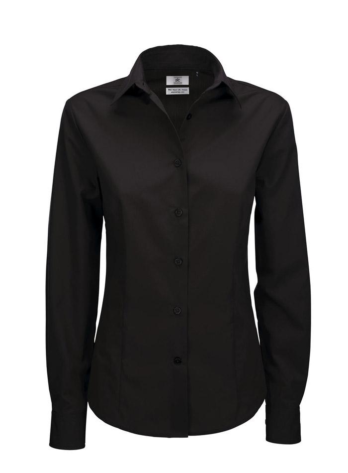 Popelínová košile s dlouhým rukávem - Černá S