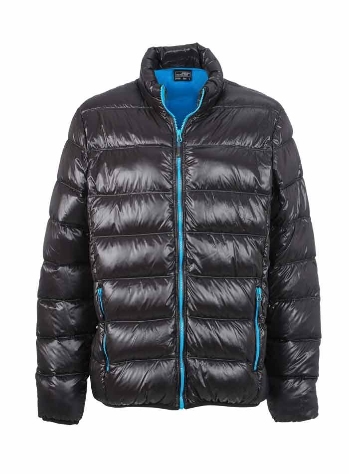 Pánská péřová bunda - Černá a modrá 3XL