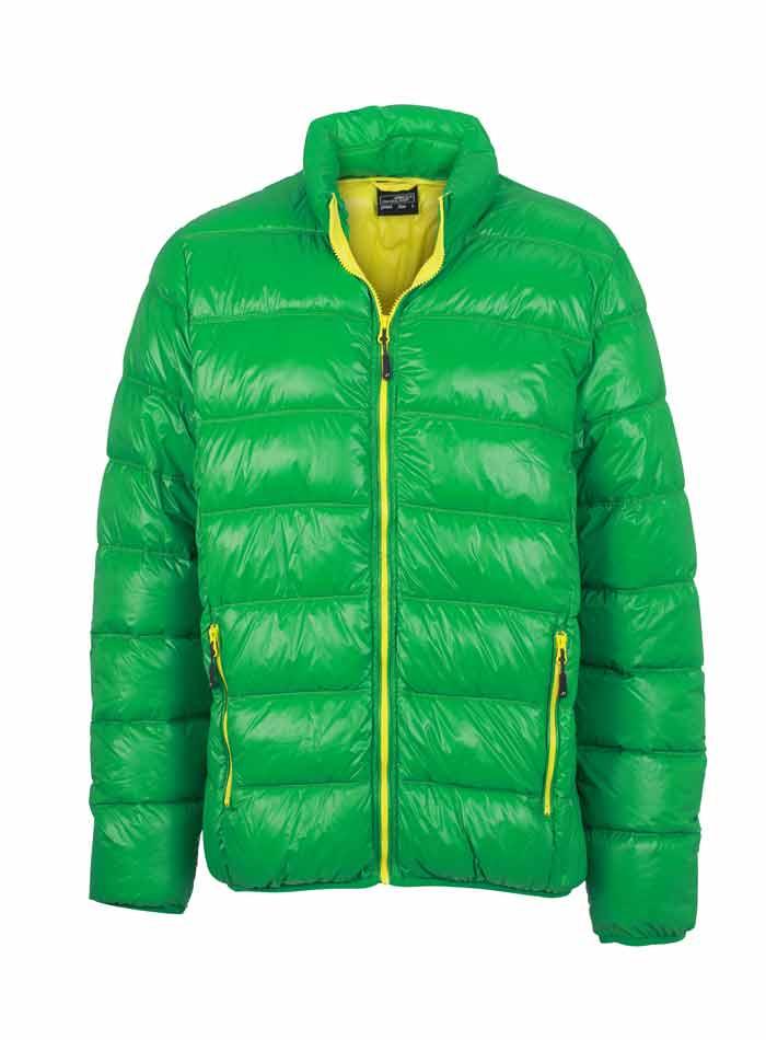 Pánská péřová bunda - Zelená a žlutá S