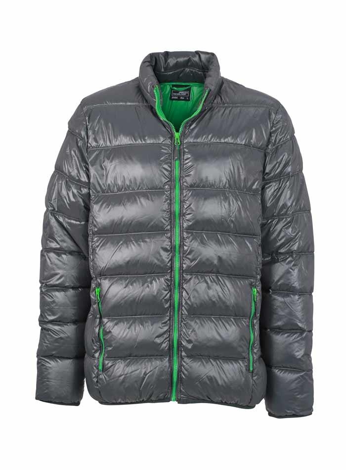 Pánská péřová bunda - Šedá a zelená XL