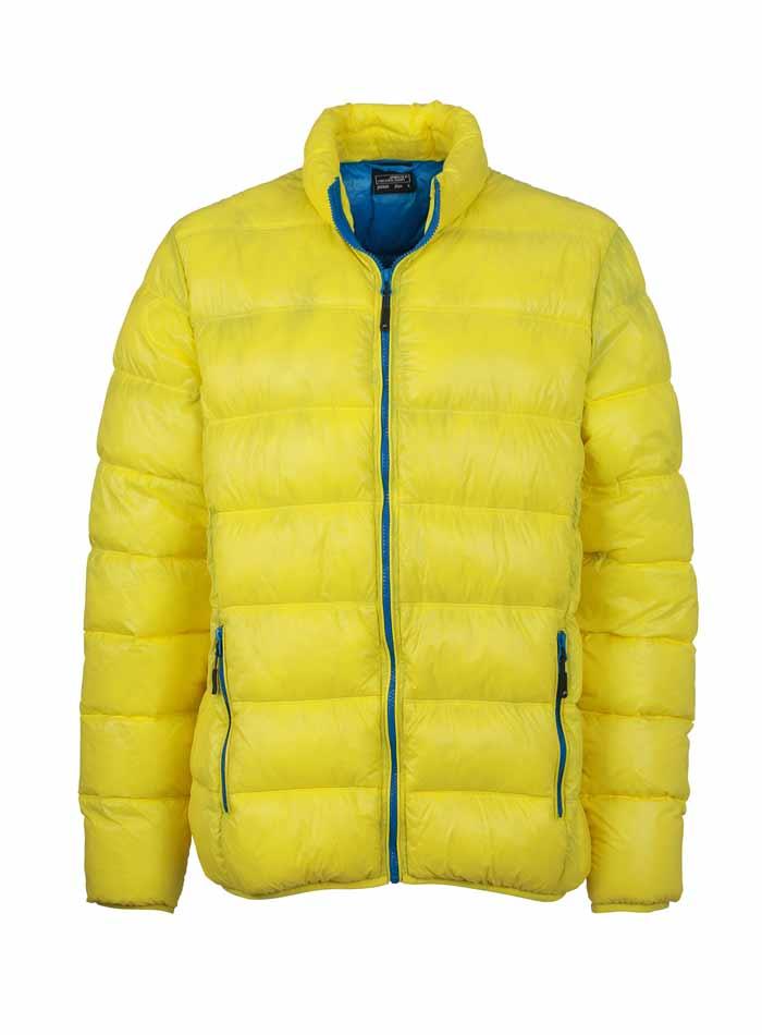 Pánská péřová bunda - Žlutá a azurová S