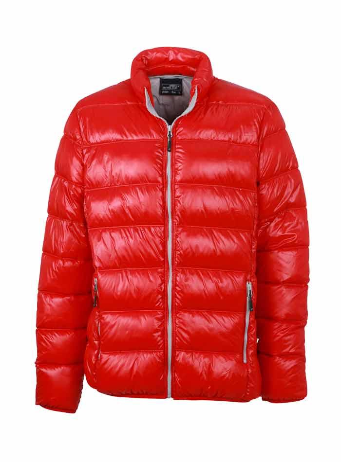 Pánská péřová bunda - Červená a šedá S