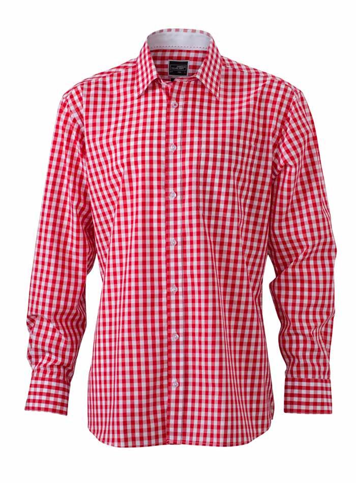 Pánská kostkovaná košile - Červená S
