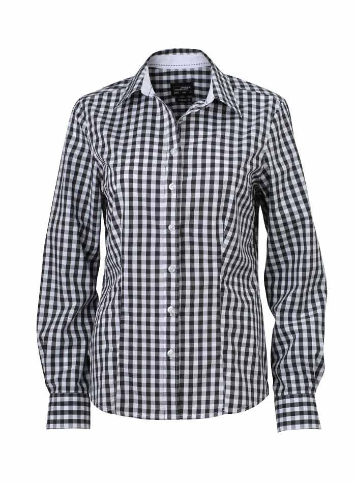 Dámská kostkovaná košile - Černá XS