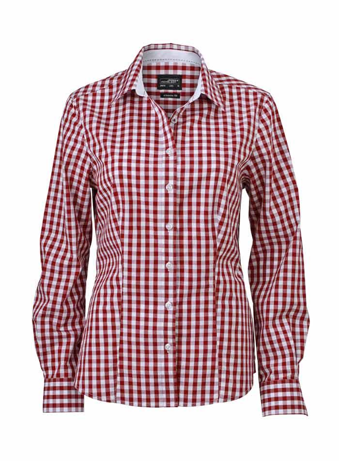 Dámská kostkovaná košile - Vínová L