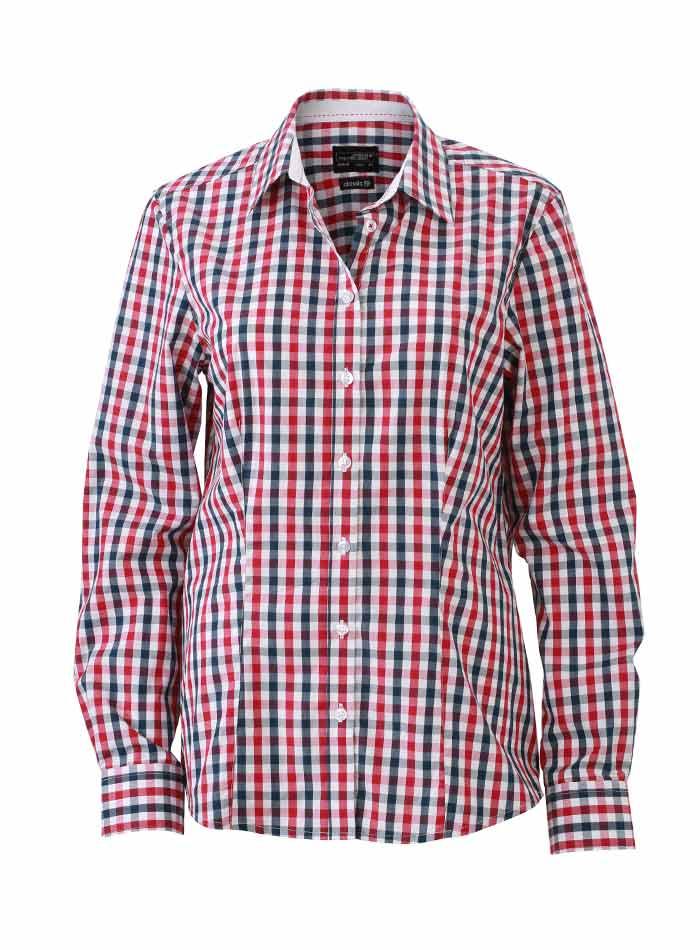 Dámská kostkovaná košile - Červená a tmavě modrá S