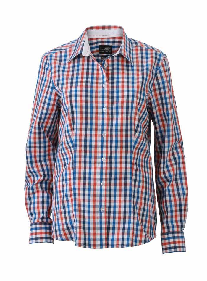 Dámská kostkovaná košile - Modrá a červená XS