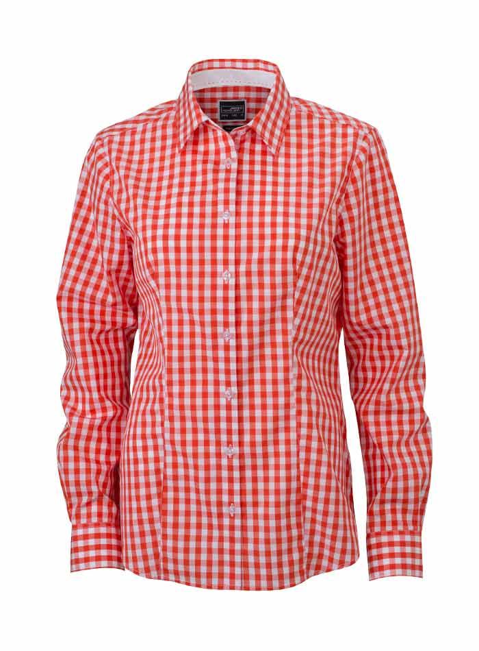 Dámská kostkovaná košile - Korálová M