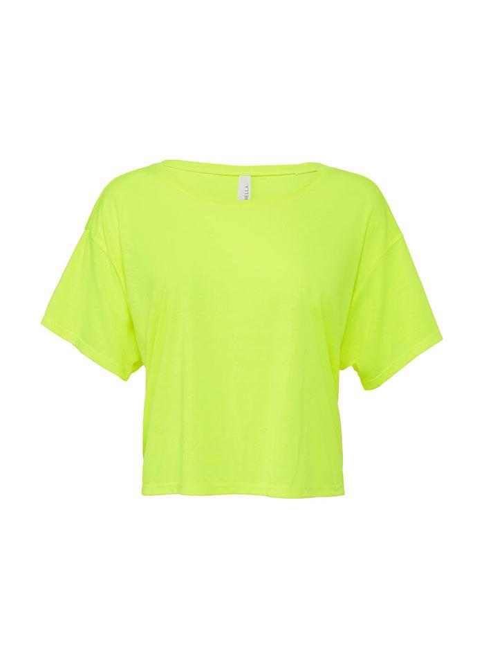 Dámské tričko Boxy - Neonově žlutá S