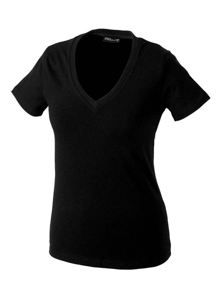 Dámské tričko s moderním výstřihem do V - Černá S