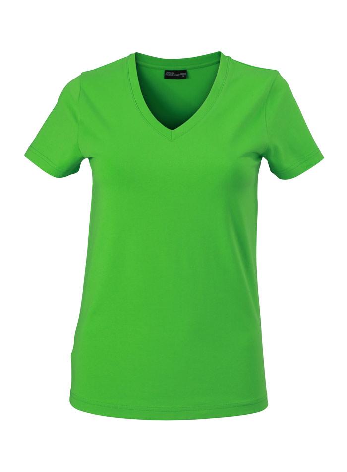 Dámské tričko s moderním výstřihem do V - Zelená S