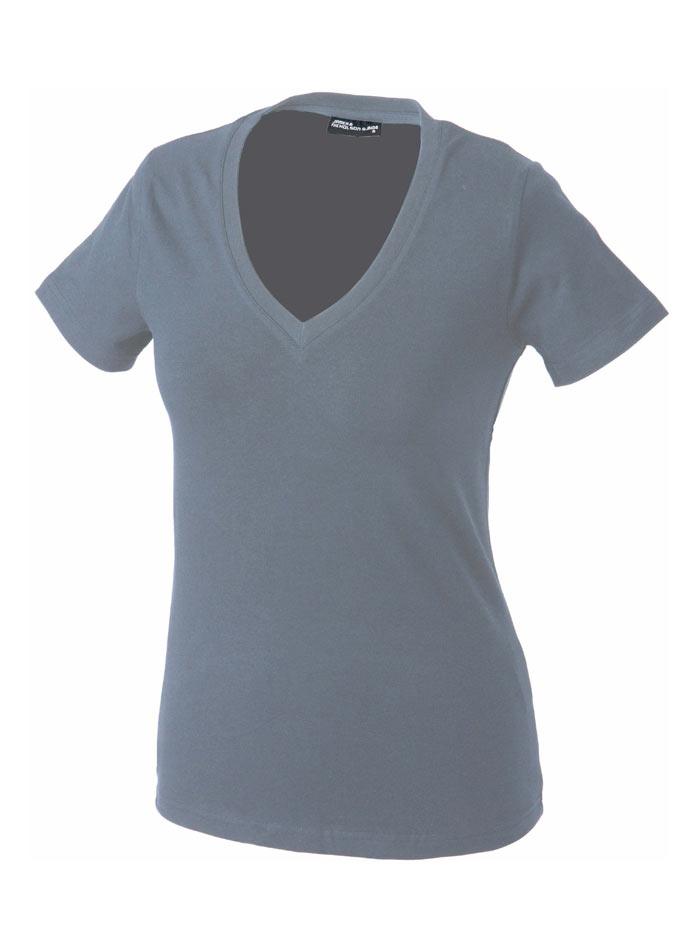Dámské tričko s moderním výstřihem do V - Světle šedá S