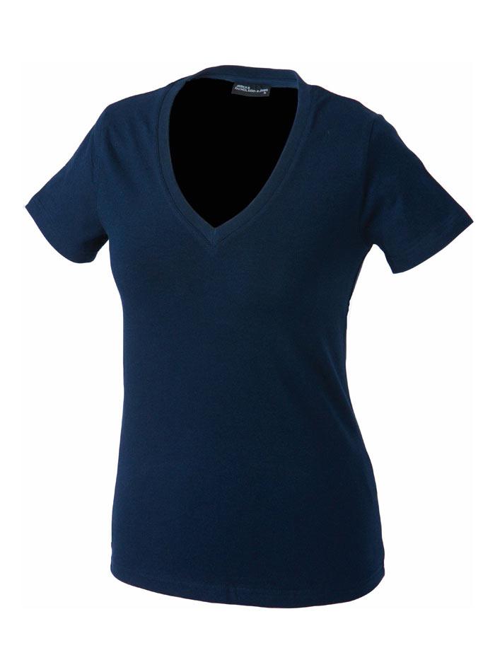 Dámské tričko s moderním výstřihem do V - Námořní modrá S