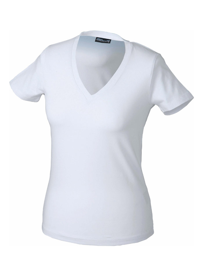 Dámské tričko s moderním výstřihem do V - Bílá S