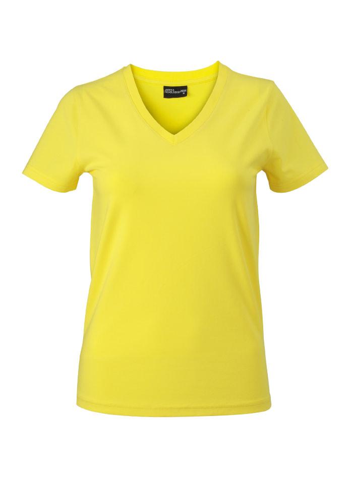 Dámské tričko s moderním výstřihem do V - Žlutá S