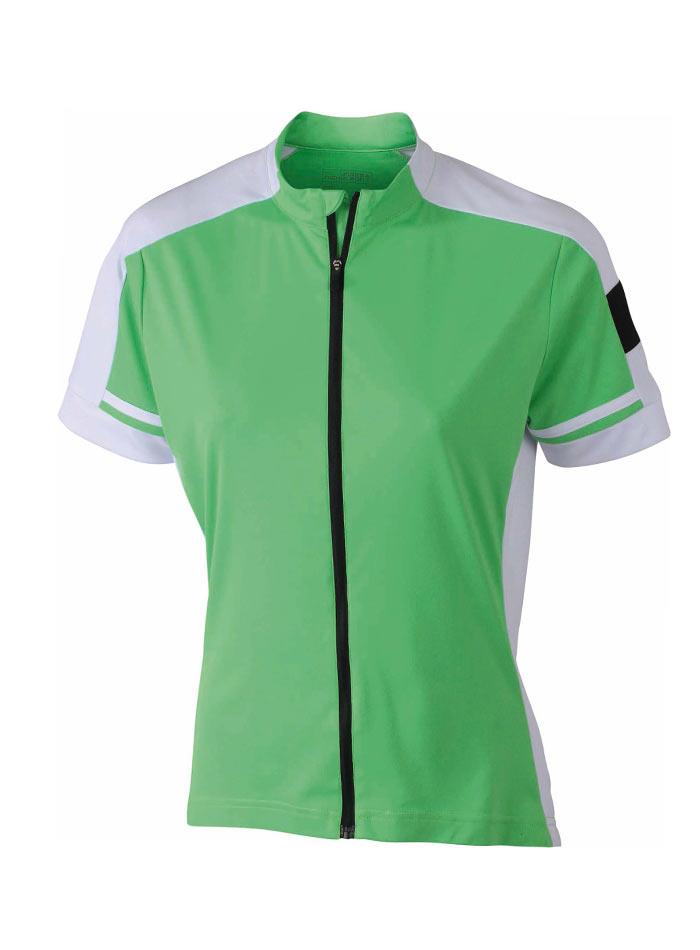 Dámské cyklistické tričko na zip - Zelená XL