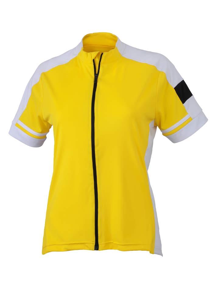 Dámské cyklistické tričko na zip - Žlutá S