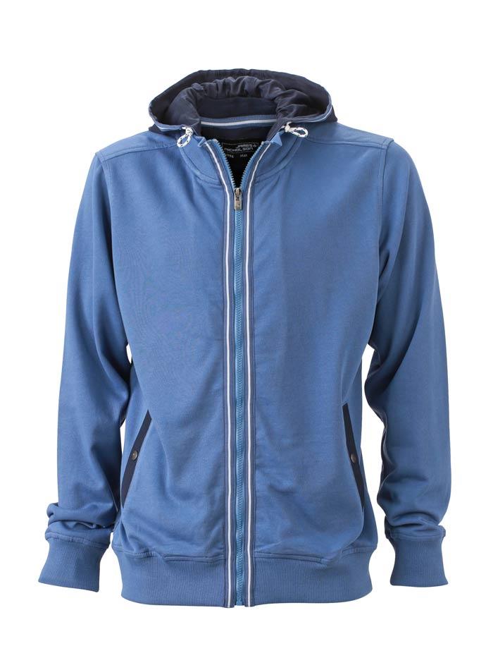 Pánská mikina s kontrastní kapucí - Modrá S