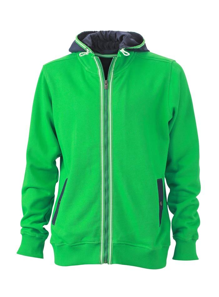 Pánská mikina s kontrastní kapucí - Zelená S